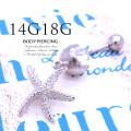 【3月再入荷】[18G14G]Newシルバーカラー登場♪夏のおしゃれには欠かせない!大人可愛いスターフィッシュモチーフ シンプル ヒトデ 耳たぶへそピアスボディピアス 0874