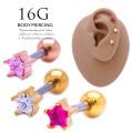 [16G]ちびちびサイズは重ね付けもおまかせ♪シンプルなのにお洒落なスターモチーフ 星 軟骨ピアスボディピアス ゴールド 0883