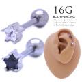 [16G]ちびちびサイズは重ね付けもおまかせ♪シンプルなのにお洒落なスターモチーフ 星 軟骨ピアスボディピアス シルバー0884