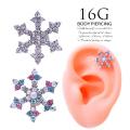 [16G]ピュアな優しい雰囲気♪耳元でキラキラ輝く、雪の結晶モチーフ軟骨ピアスボディピアス 0945