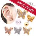 【8月新作】[16G]キュービックジルコニアを敷き詰めた♪耳元で煌く大人かわいいバタフライ 蝶々 butterfly 軟骨ピアス ヘリックス ボディピアス 0407