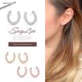 【5月新作】(22G)人気ネックレスのお揃いピアス♪シンプルにさらりとコーデに馴染む。キュービックジルコニア馬蹄ピアス sliver925 蹄 0428