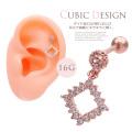 【11月新作】[16G]ダイヤ型CZが揺れるたび耳元で繊細にキラキラと輝く。軟骨ピアス ヘリックス ボディピアス 0659