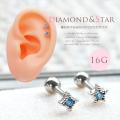[16G]人気のちびサイズ!爽やかな印象♪きらきらアクアストーンモチーフ スター 星 star ダイヤ型 軟骨ピアス ヘリックス ボディピアス 0718