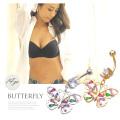 【3月新作】[14G ]ピンクやグリーンなどのストーンを散りばめて大人かわいい アクセントを効かせたバタフライ butterfly へそピアス ボディピアス 0282