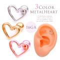 ◇Best15◇ [16G]ツヤのある光沢感が大人可愛い METALHEART シンプルメタルオープンハート軟骨ピアス ヘリックス ボディピアス 0303