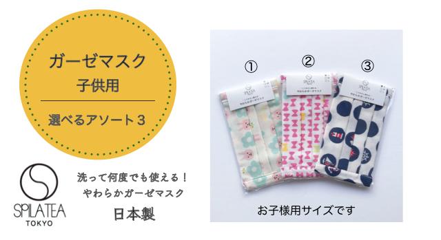 ガーゼマスク  子供用 選べるアソート3 【メール便可】