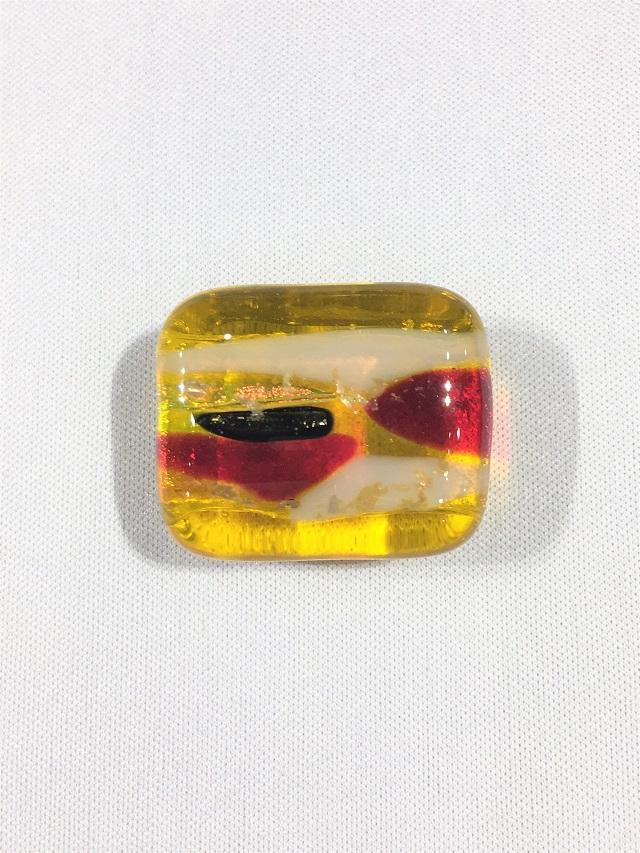 【帯留】【琉球ガラス】【ハンドメイド】 【琥珀色】 【送料全国一律510円】
