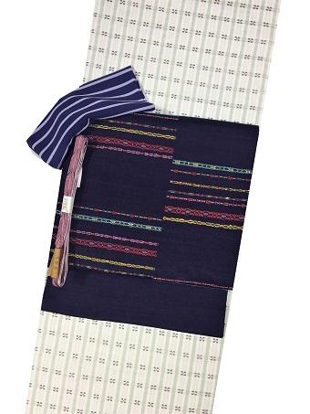 伊那紬 花織 帯 コーディネート