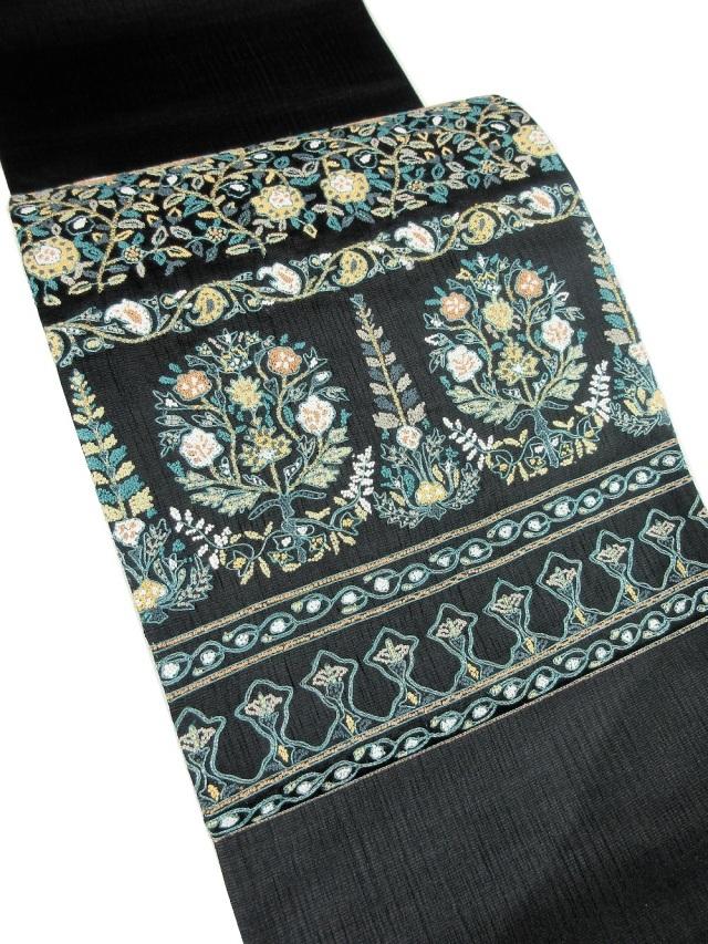 相良刺繍 袋帯 更紗
