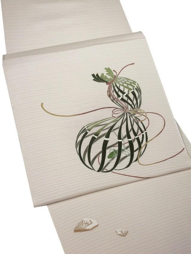 駒絽 染帯 夏 瓢箪から駒