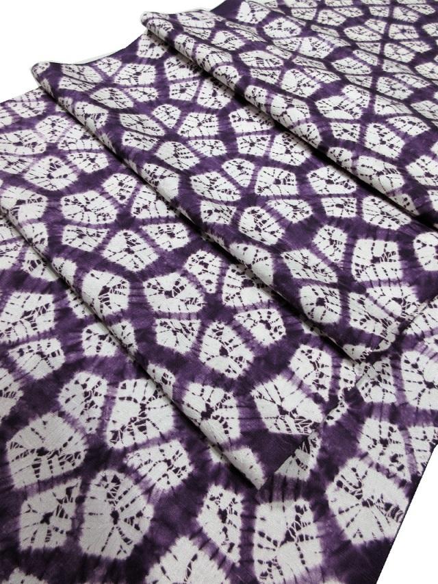 紫根染 九寸名古屋帯 絞り
