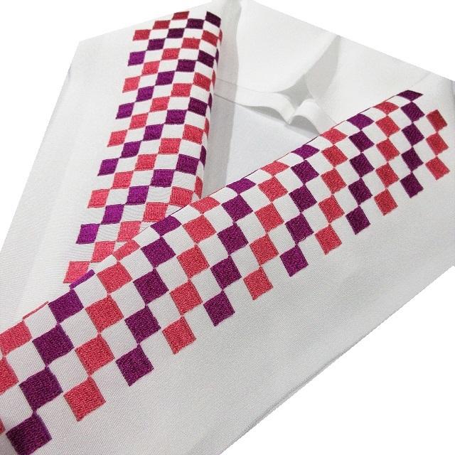 半衿 市松 刺繍