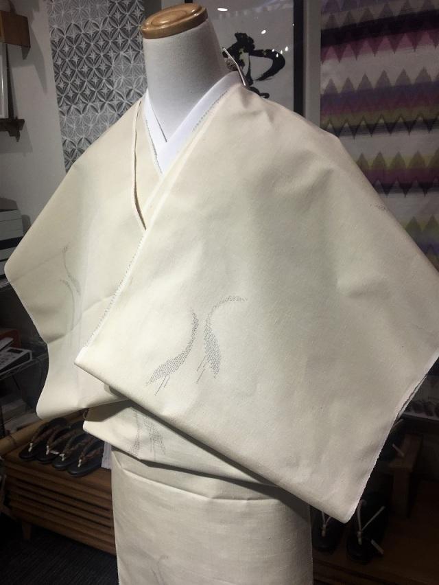 結城紬 鶴