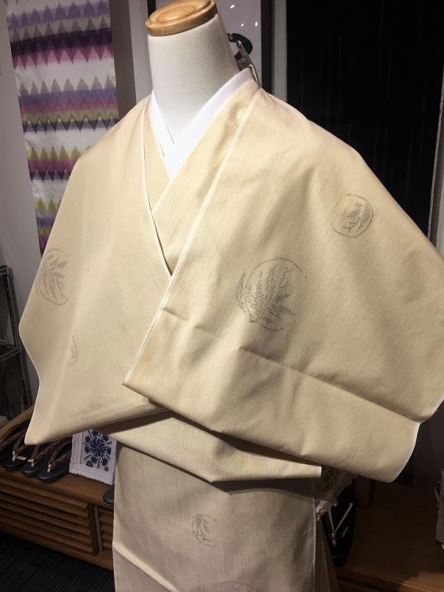 結城紬 ベージュ地 笹紋