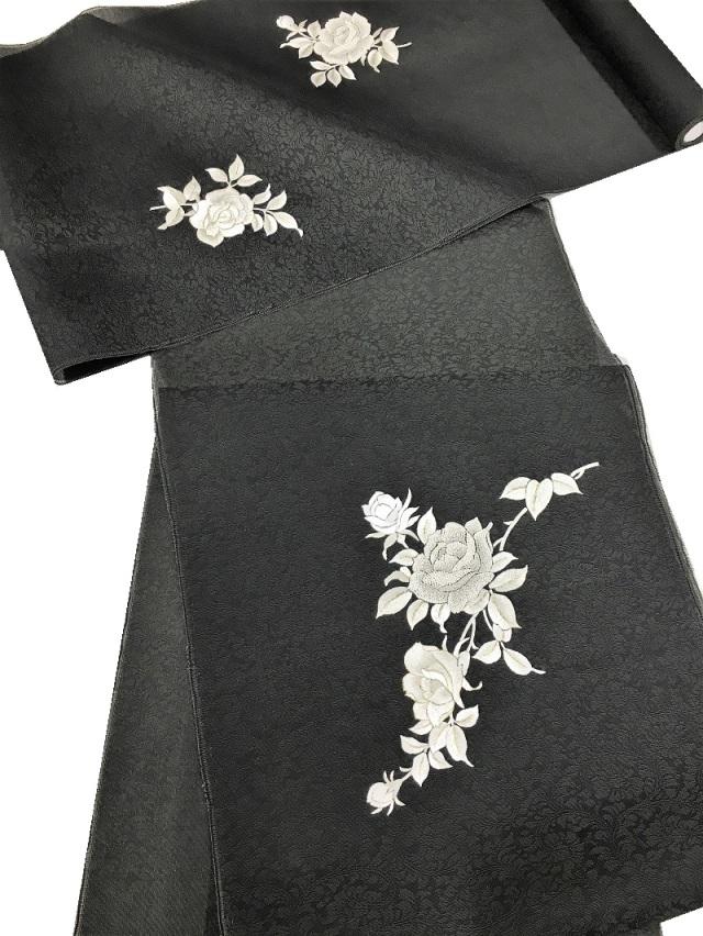 尾峨佐 刺繍帯 薔薇