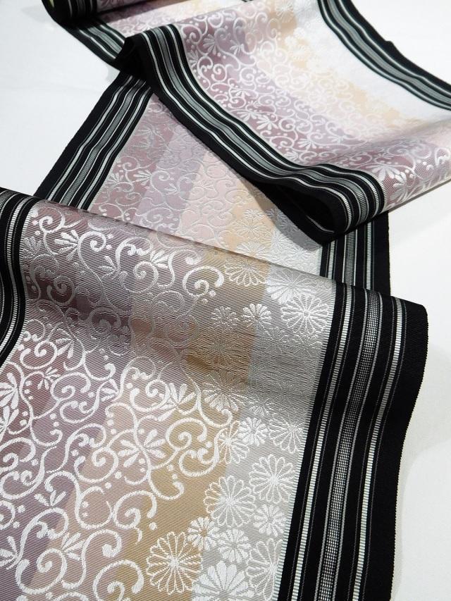 博多織八寸名古屋帯 黒木織物