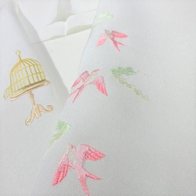 鳥刺繍半衿