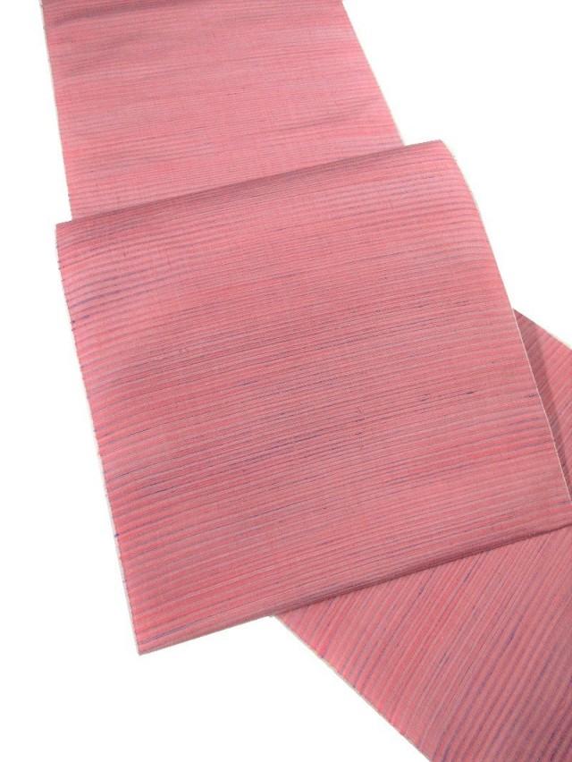 結城紬九寸帯 ピンク