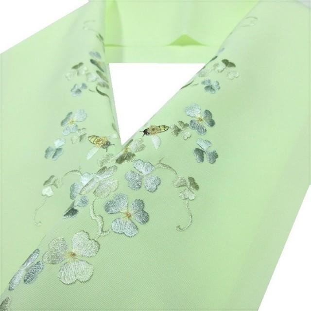 半衿 刺繍 クローバー