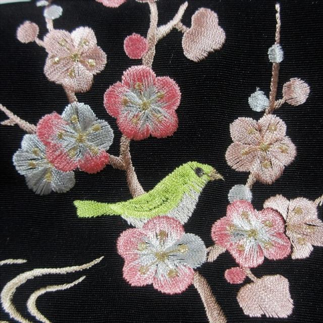 刺繍半衿 梅に鶯