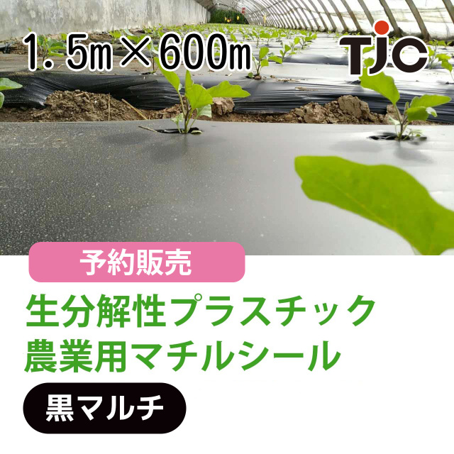 生分解性プラスチック 農業用マルチシート 1.5m×600m 黒マルチ PLAポリ乳酸