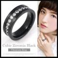 チタンリング 指輪  キュービックジルコニアブラックチタンリング 金属アレルギー