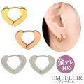 金属アレルギー対応 [EMBELLIR] ステンレスピアス トライアングルプレートフープピアス 両耳用 ワンタッチ サージカルステンレス tk027