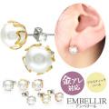 金属アレルギー対応 [EMBELLIR] ステンレスピアス ハートフレームパールピアス スタッドピアス 両耳用 真珠 サージカルステンレス tk031