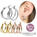 金属アレルギー対応 [EMBELLIR] ステンレスピアス ダブルフープピアス 両耳用 ワンタッチ サージカルステンレス tk039