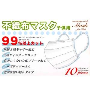 【数量限定】不織布マスク 子供用 10枚入 ホワイト(個装されていません)