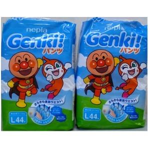 【数量限定】ネピア GENKI  パンツ Lサイズ  44枚×2個パック(ゲンキおむつ アンパンマン 袋付き)