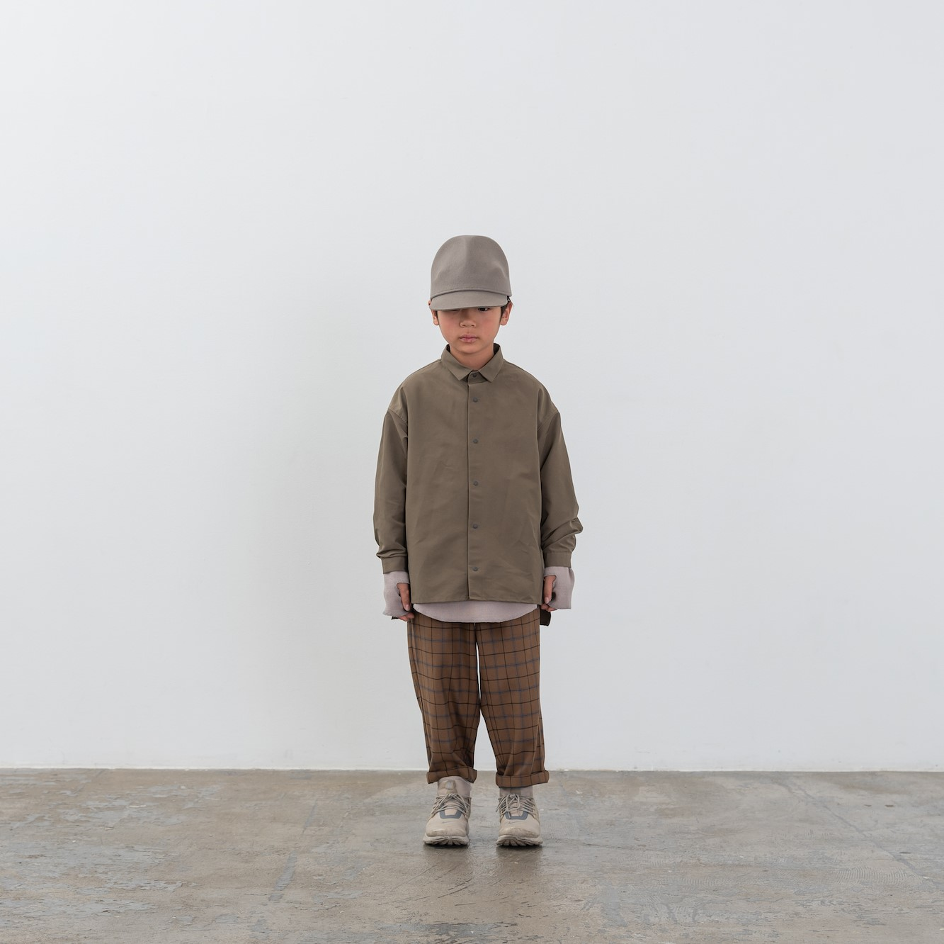 【MOUNTEN.】MT202004-a grosgrain shirts キッズ95 110 125 140 おとな1