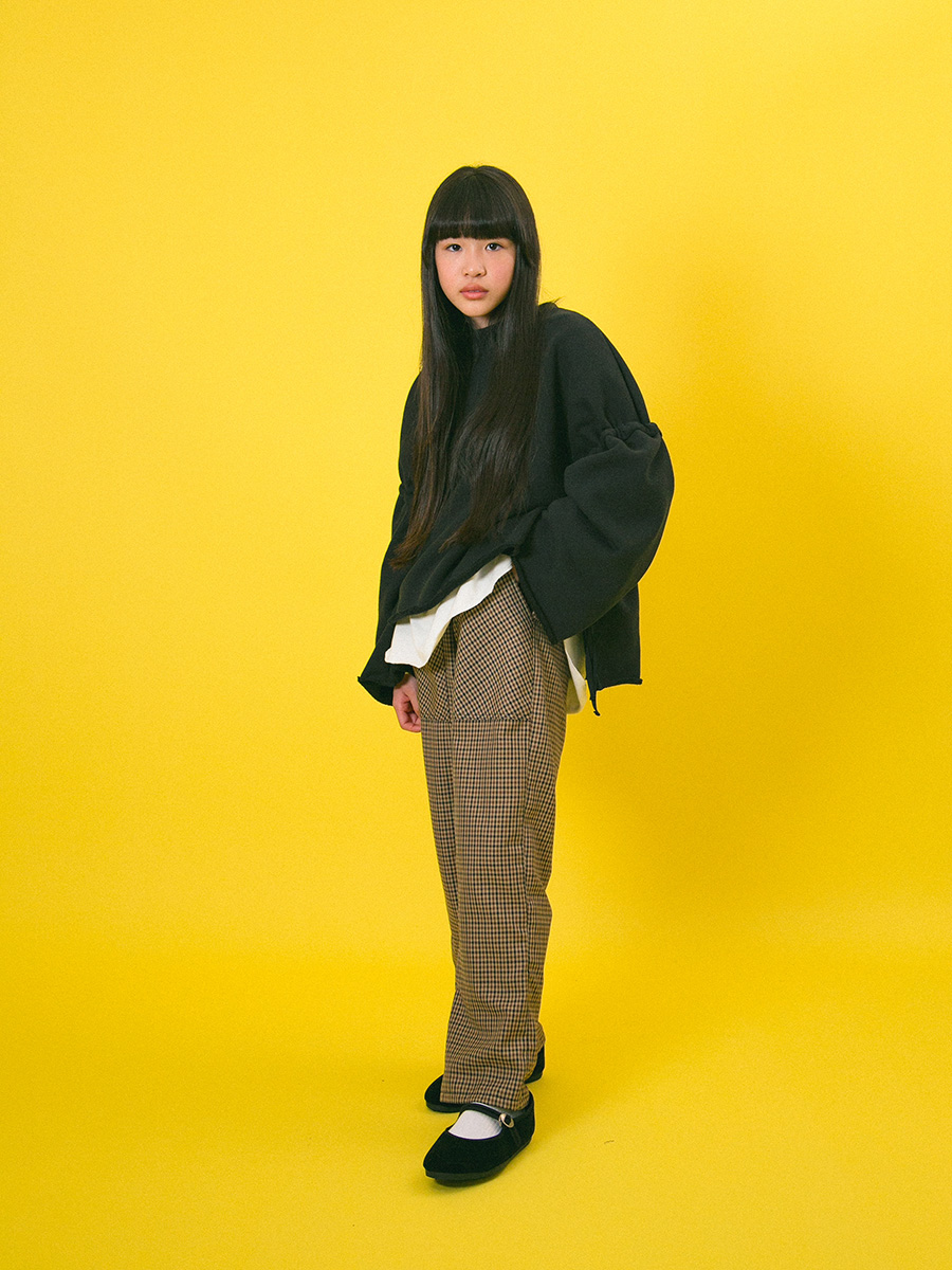 【mimi poupons】180474-1BK サイドコード スウェット ブラック