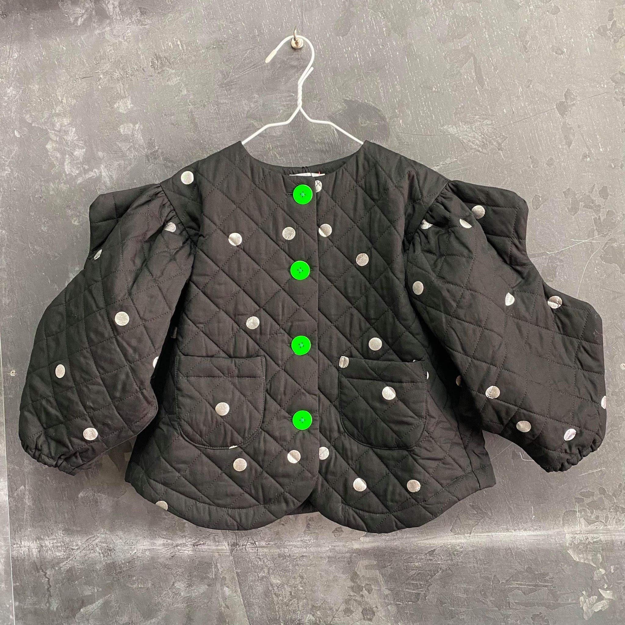 【frankygrow】21FWOT-079 WAVE CUT SLEEVES QUILTING JACKET BLACK-SILVER DOTS