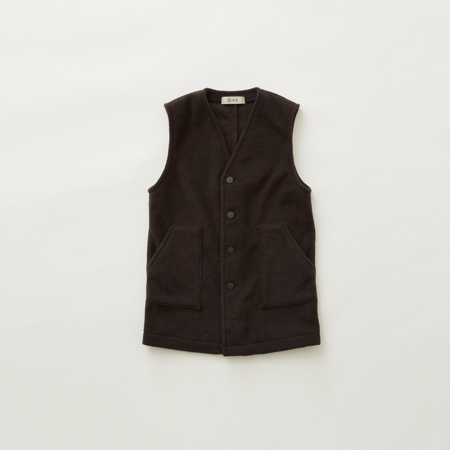 【eLfinFolk】Fleece long vest  black