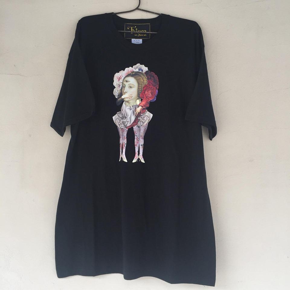 【-niitu-Trinca】TrincaビッグTシャツ/三つ目の女/黒/大人