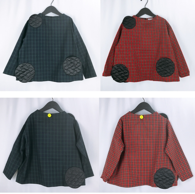 【frankygrow】20FWCS-366 UNEVEN BEAR QUILTING DOTS CHECK TOPS/キッズから大人まで