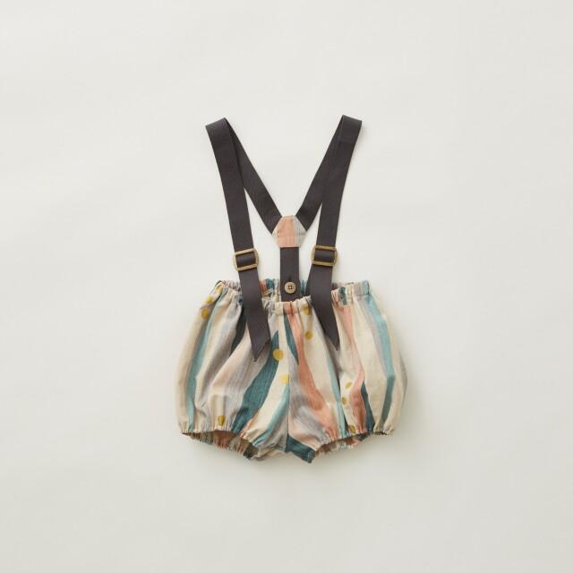 【eLfinFolk】Crambon stripe suspenders bloomers pale pink