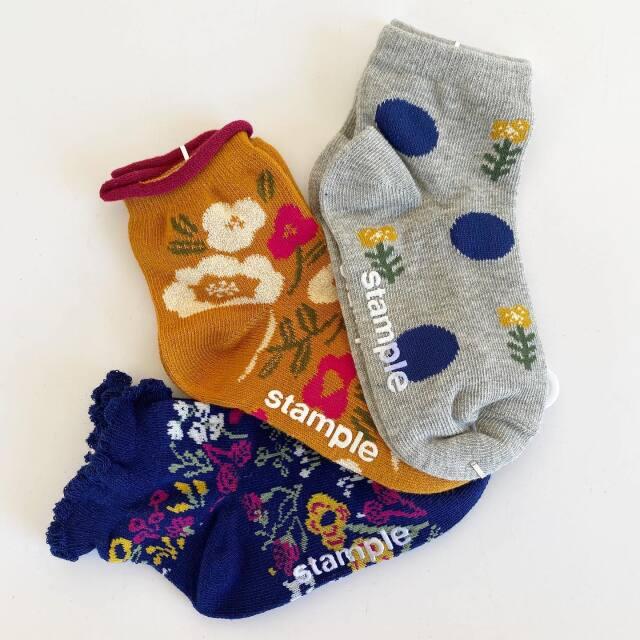【stample】 花×花ショートソックス3P