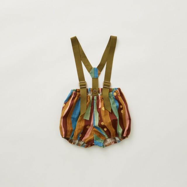 【eLfinFolk】Crambon stripe suspenders bloomers brown