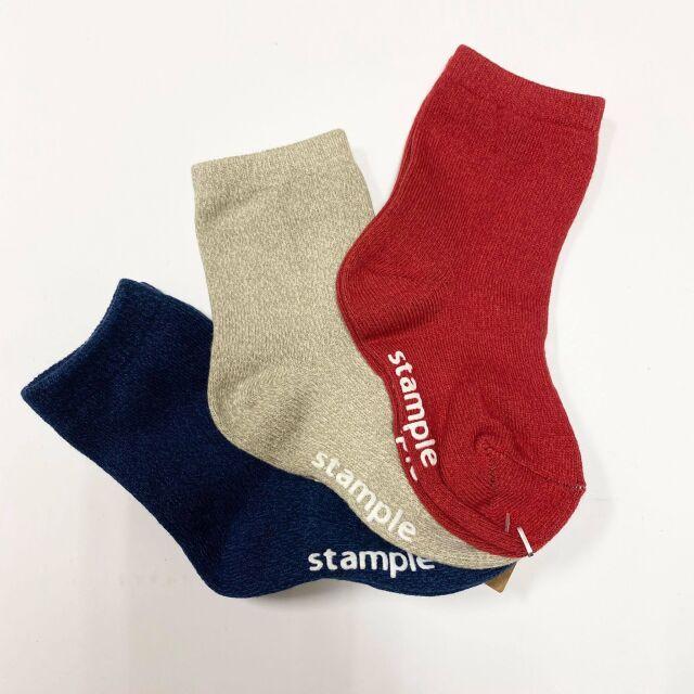【stample】72288Aレッド系 撚り杢 スタンダード クルーソックス 3P