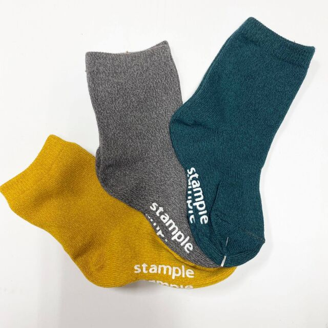 【stample】72288Bグリーン系 撚り杢 スタンダード クルーソックス 3P
