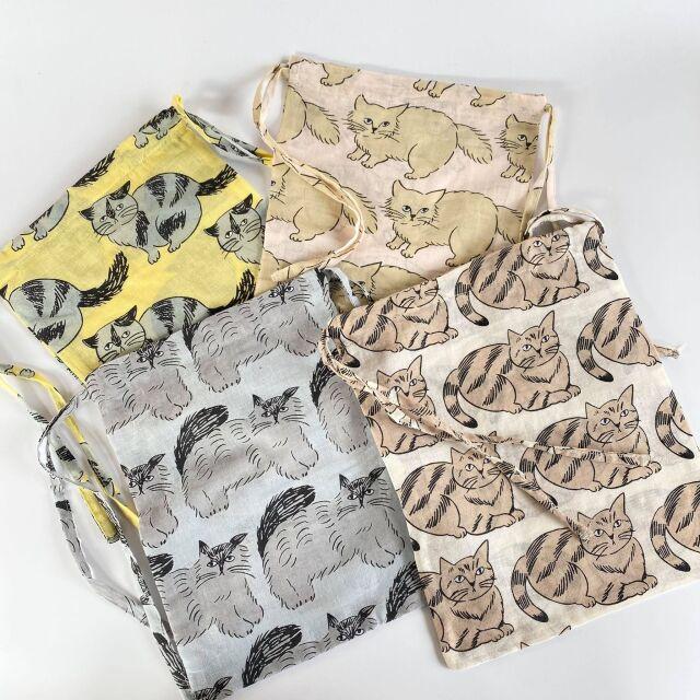 【松尾ミユキ】インド綿 drawstring bag ねこシリーズ
