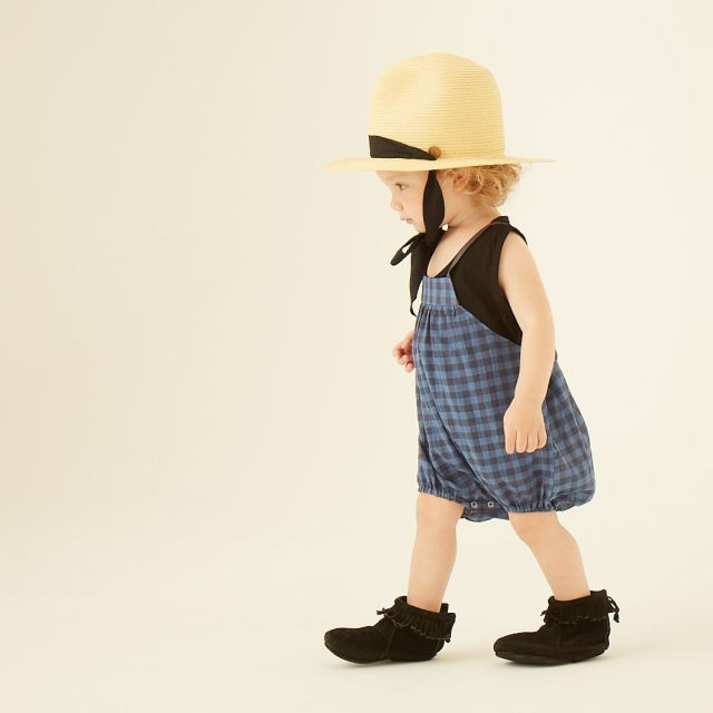 【eLfinFolk】elf-191F10 voil check rompers