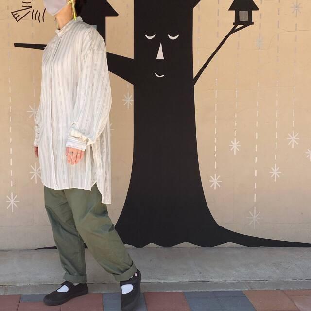 【MOUNTEN.】21S-MS16-0908c stripe chiffon big shirts