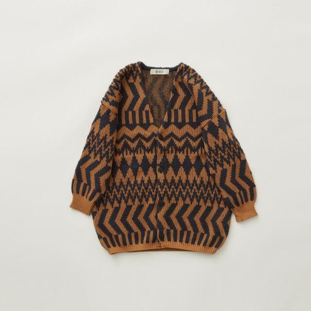 【eLfinFolk】8月入荷予定 Folk jacquard  cardigan camel×charcoal