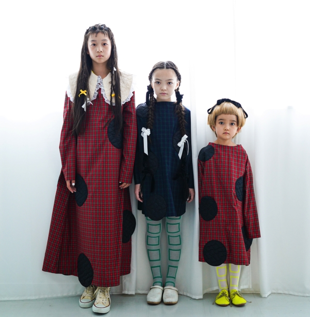 【frankygrow】20FWOP-163 UNEVEN BEAR QUILTING DOTS CHECK DRESS/キッズから大人まで