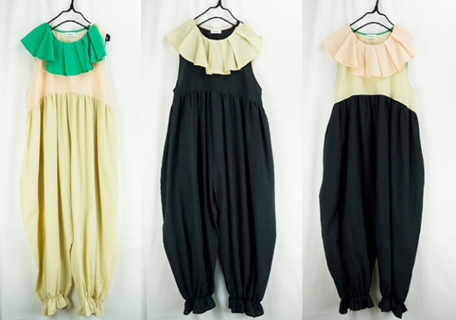 【frankygrow】20SCS-339 PLEATS COLLAR OVERALL DYED