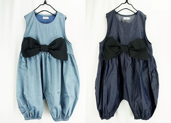 【frankygrow】20SCS-342 BIG RIBBON DENIM OVERALL